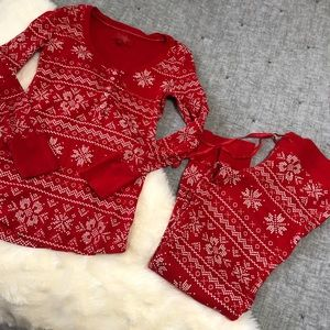 Victoria's Secret red fair isle thermal pajama szS